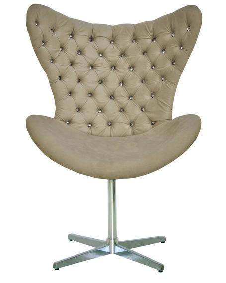 Cadeira Poltrona Cor Nude Capitonê Pedra De Strass Brilhante