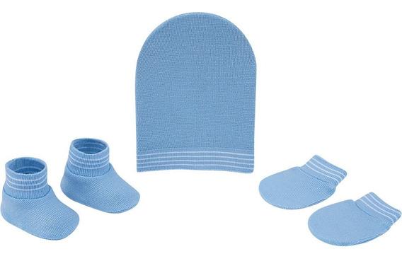 Kit Recém-nascido Gorro Luva Sapato Azul Pimpolho 8334