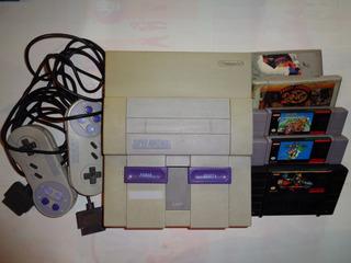 Consola Super Nintendo Con 2 Joistick Originales Y 5 Juegos