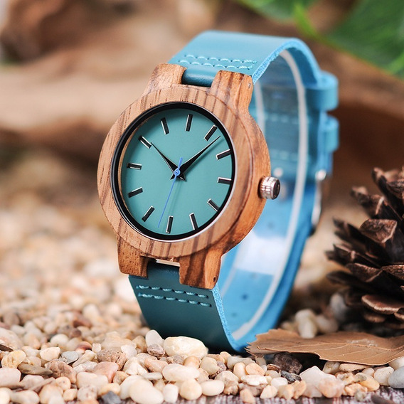 Relógio Feminino Bobo Bird Madeira Ecológica C28 Azul