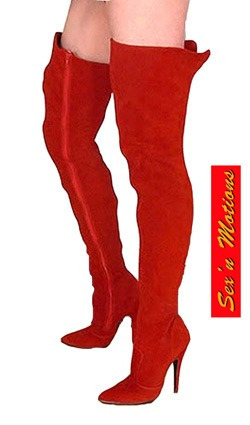 Botas Bucaneras Lady In Red, Taco Fino De Gamuza Autentica!
