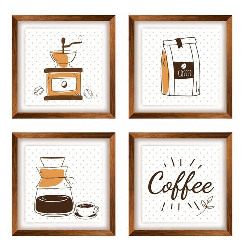 Imagem 1 de 1 de 4 Quadros Decoração Cozinha Cantinho Café 20x20 Cm