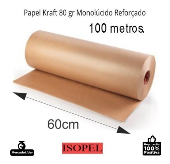 Kit 3 Bobinas Papel Kraft Pardo Bobina 80 Gr, 60cm X 100mts