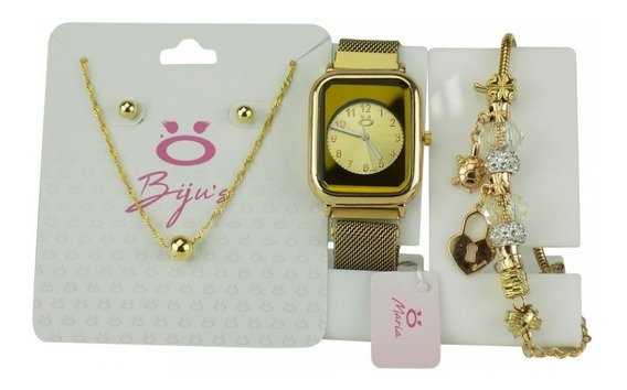 Relógio Feminino Pulseira Magnética+brincos Colar E Pulseira