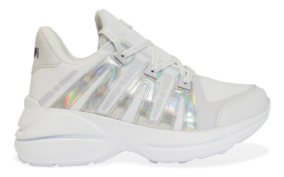 Zapatillas Mujer 47 Street Hardy Blancas Plata Plataforma