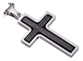 Colar Crucifixo Masculino Prata Interior Preto Orar 60834