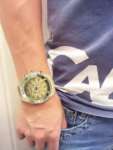 Relógio Dourado Masculino Original Atlantis Luxo Sport Caixa
