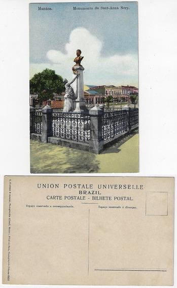 Amazonas Anos 1910 Cartão Postal Monumento Sant-anna Manaus