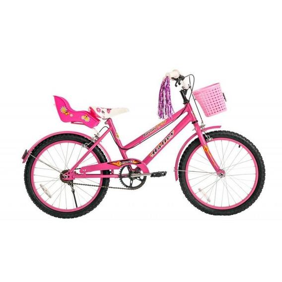 Bicicleta Halley Obelix 19075 Rodado 20 Nena Canasto Paseo N