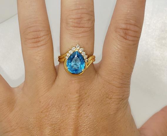 Anel Hstern Gota Ouro 18k 750 Brilhantes E Topázio Azul