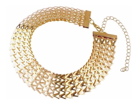 Colar Choker Gargantilha Festa Luxo Chic Trançado Dourado