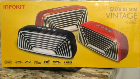 Caixa De Som Vintage Com Bluetooth