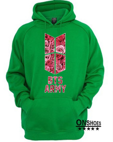 Blusa De Moletom Bts Kpop Army Rosas Canguru Unissex Cod 127