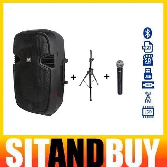 Locação Caixa De Som Portátil 12 Polegadas Mp3 Bluetooth C/ Microfone Sem Fio E Pedestal