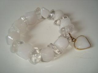 Pulseira Elástica Pedra Natural Quartzo Cristal Branco 2