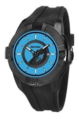 Relógio Mormaii Masculino Preto C/ Azul Mo2315ap/8z Original