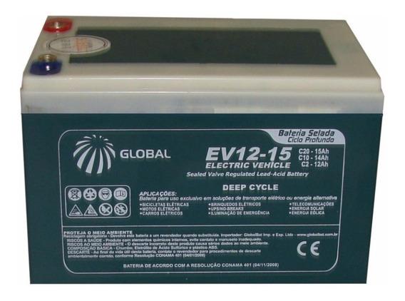 Bateria Gel Ev12-15 Global 12v 15ah Ciclo Profundo Skate