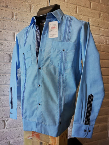 Guayabera Artesanal Camisa Combinada Azul