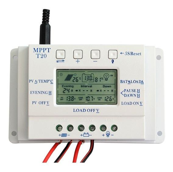 Controlador De Carga Solar Mppt 20a 12/24v Max 50v Com Usb