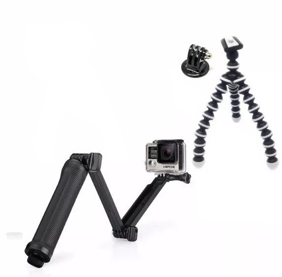 Bastão 3 Way Tripé Flexível Adaptador Kit Go Pro Gopro 2018