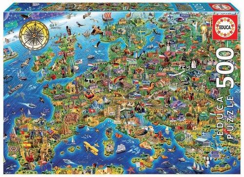 Puzzle Rompecabeza 500 Piezas Mapa De Europa Educa 17962