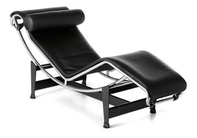 Chaise Longue Le Corbusier Aço Inox Couro Natural