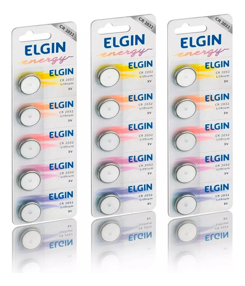 3 Cartelas Bateria Moeda Cr2032 3v Pilha Lithium Elgin