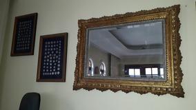 Lindo Espelho Bisotado Com Moldura Dourada