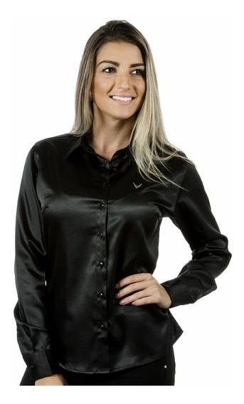 Camisa Feminina Cetim C/ Elastano Inaê - Camisete Preto