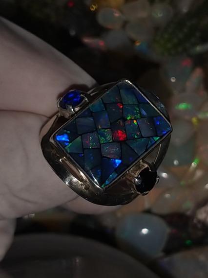 Anel Mosaico 6,70g Pedra Opala Preciosa Natural Na Prata 950
