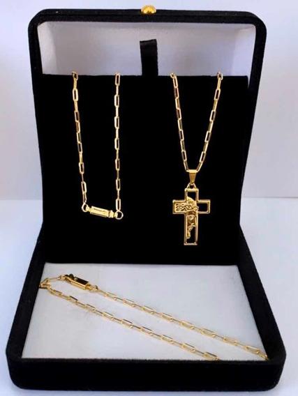 Corrente Cordão Cartier Banhado A Ouro 18k + Crucifixo
