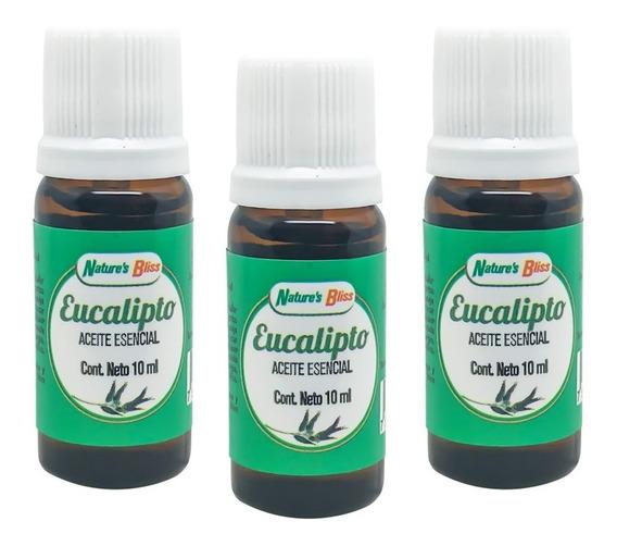 3 Frascos - Eucalipto Aceite Esencial 10 Ml. 100% Puro