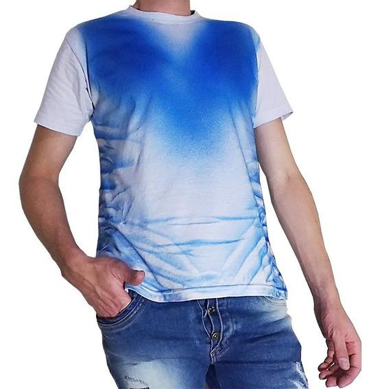 Camiseta Personalizada Masculina Branca Estampada Azul Camisa Branca E Azul Top Promoção