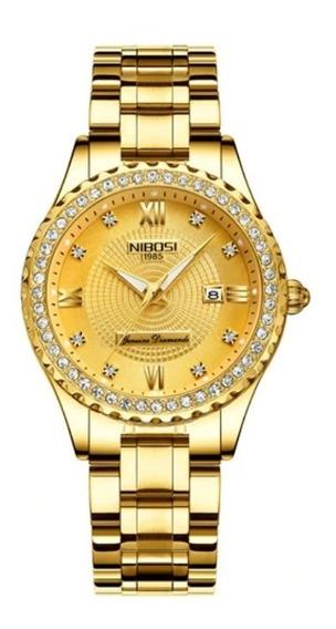 Relógio Feminino Luxo Nibosi Original Prova D