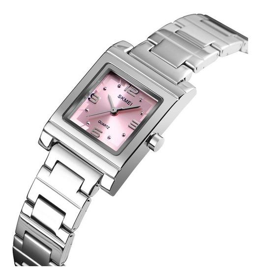 Reloj De Pulsera Dama Acero Inoxidable Rosa Y Azul Skmei