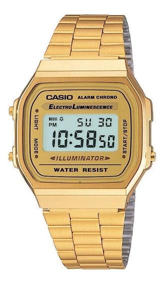 Relógio Casio Unisex A168 Retrô Vintage Ouro
