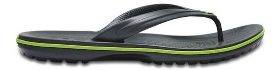 Sandalia Crocs Dama Crocband Flip Gris/verde