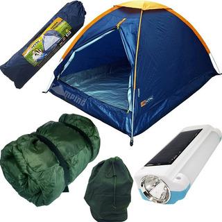 Kit Barraca Camping Nautika 2 + Saco Dormir + Lanterna Solar
