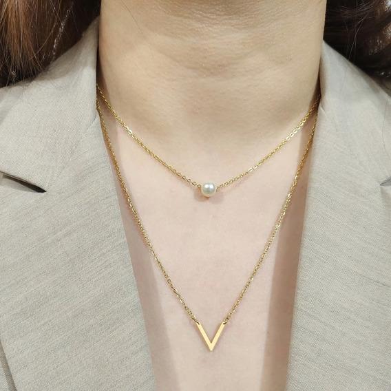 Colar Triângulo Aço Inoxidável Em Camadas Com Pérola Çl 88