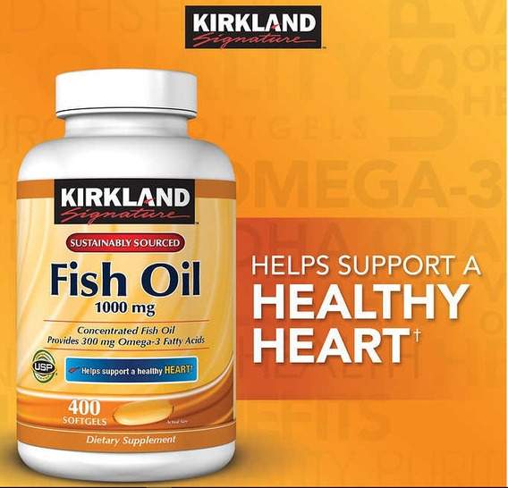 Fish Oil Kirkland 1000mg 400softgels Val.06/2020 Imp.usa
