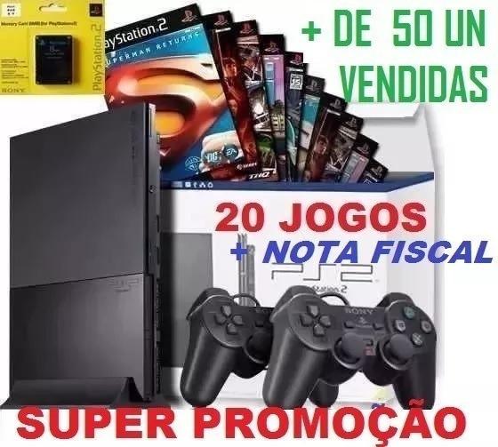 Console Playstation 2 Com 2 Controles +20 Jogos De Brinde