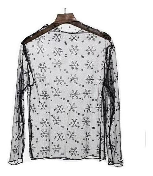 Blusa Transparente Unitalla Croptop Copo Estrella