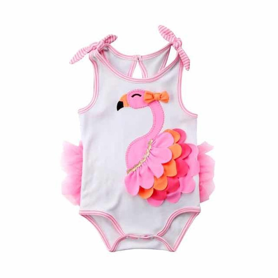 Body Bebe Menina Macacão Flamingo Mesversário Infantil Luxo