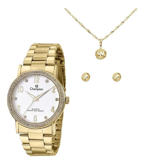 Relógio Feminino Champion Dourado Colar E Brinco Cn29016w
