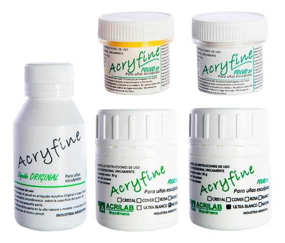 Acryfine Kit X4 Polímeros + Monómero Uñas Esculpidas