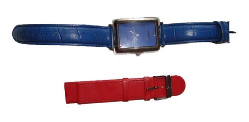 Orient Reloj Dama Malla Azul Y Repuesto Rojo Envio Gratis!