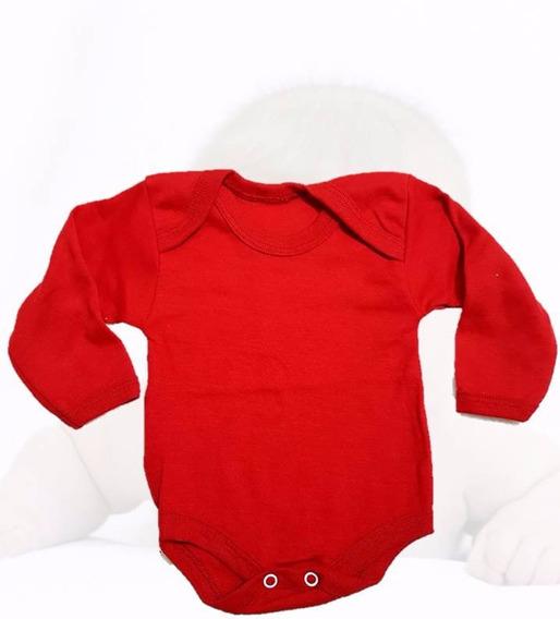 Pañalero Manga Larga Algodon Rojo Bebe 3 A 18 Meses