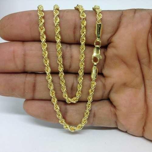 Corrente Corda Baiano Banhado A Ouro 18k 4mm 70cm Masc/fem.