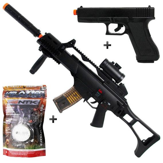 Rifle Airsoft Elétrico Umarex Hk G36 + Pistola Glock +2000bb