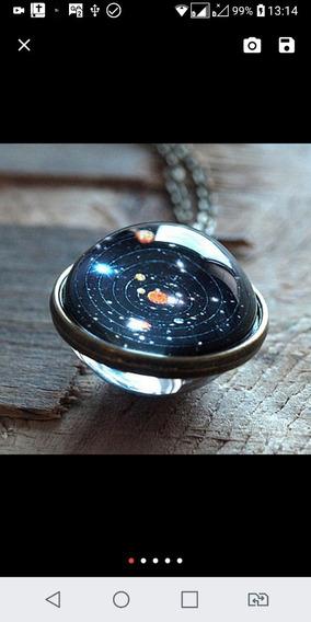 Colar Bola De Vidro, Pingente Sistema Solar Universo.